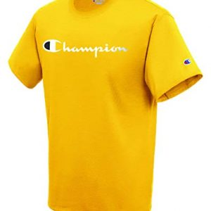 Champion Mens Classic Jersey Script T-Shirt, Team Gold, Small