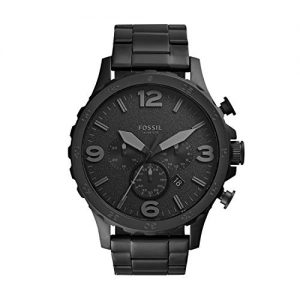 Fossil Mens Nate Quartz Stainless Steel Chronograph Watch, Color: Black (Model: JR1401)