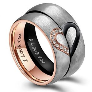 ANAZOZ Hers & Womens for Real Love Heart Promise Ring Stainless Steel Wedding Engagement Bands 6MM US Size 6